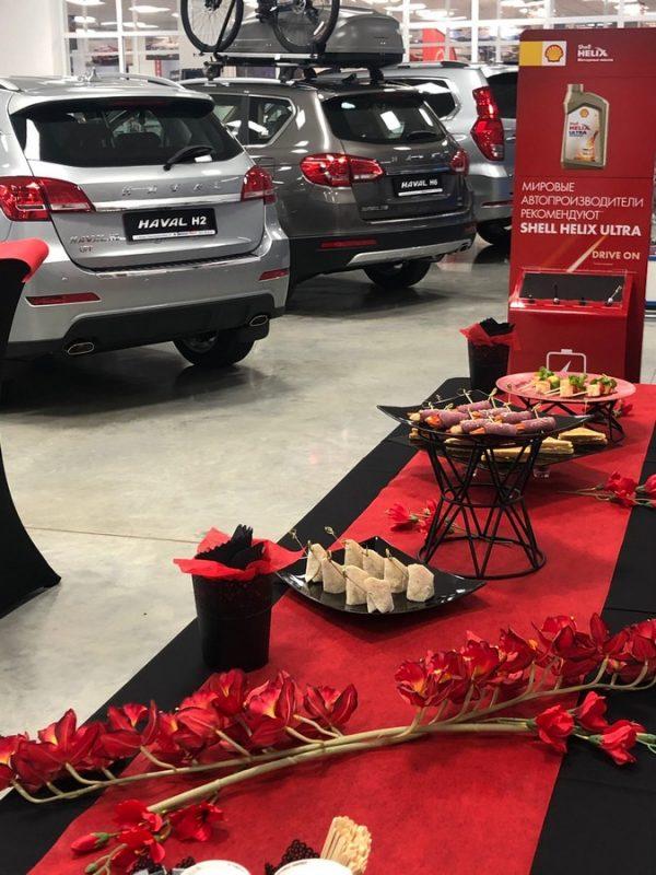 Фуршет в красно-черном декоре для автосалона, ноябрь 2019